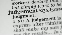 Dictionary Definition - Judgement. - stock footage