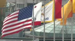 California and USA Flags Blowing Stock Footage