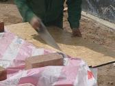 Hand cut board handsaw Stock Footage