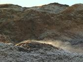 Evaporate wood chip pile Stock Footage