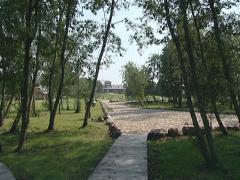 Park path cobbled stones Stock Footage