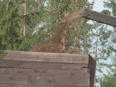 Wood chips load trailer Stock Footage