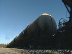 Freight train carry tanks Stock Footage