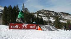 Skier tricks on rail Stock Footage