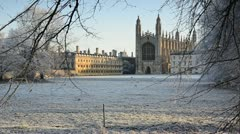 Cambridge, The Backs, King's College Chapel in Winter Stock Footage
