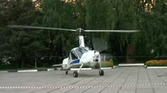 Helicopter-plane on a site Stock Footage