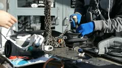 Snowboard adjustment Stock Footage