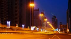 UAE, Dubai, Sheikh Zayed Road (Highway E11) (Time Lapse - night to day) Stock Footage
