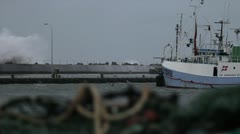 Stormy Harbour in Denmark 3 Stock Footage