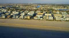 Aerial view of beach homes near Highway 1 USA Stock Footage