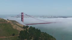 GoldenGateBridge WS Fog Sunny SF in Distance 1 - stock footage
