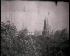 Montage of Moscow Kremlin clips, vintage b&w 8mm footage. Stock Footage
