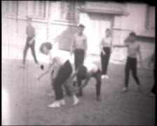 Basketball players, vintage b&w 8mm footage Stock Footage
