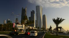 Qatar, Doha, left to right Palm Tower, Al Bidda Tower and Burj Qatar Stock Footage