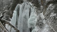 Waterfall encased in ice Stock Footage