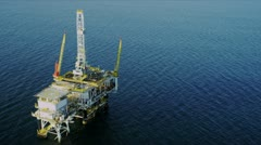 Aerial view of oil production platform, USA Stock Footage