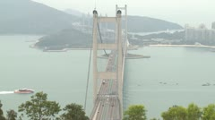 Traffic On Suspension Bridge Stock Footage