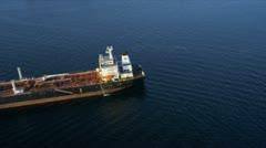 Aerial view of oil container tanker, USA Stock Footage