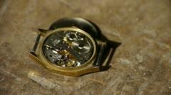 Internal structure of Watch,bearings,gears. Stock Footage