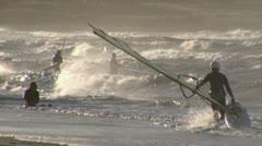 Windsurfer + Kitesurfer - stock footage