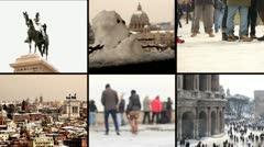 Rome under the snow - St. Peter, Colisseum, Venice Square Stock Footage