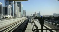 UAE, Dubai, Sheikh Zayed Road, Metro Line Stock Footage