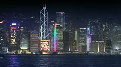 101 Skyscapers at Victoria's harbor Stock Footage