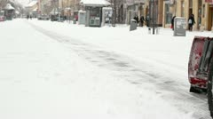 Snow Removal on City Street Stock Footage