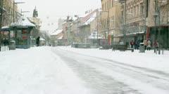 People Walking In Snowstorm Stock Footage