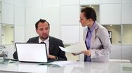 Stock Video Footage of Businessman at office gets reprimand from his female boss HD