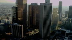 Aerial view of downtown financial district, Los Angeles, USA Stock Footage