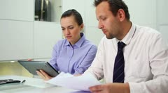 Business people working with digital tablet and documents in office HD - stock footage
