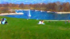 Living Oil Painting of Forest Park at Art Museum in St. Louis HD720 Stock Footage