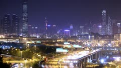 Busy City. City Timescape at Night. Hong Kong. - stock footage