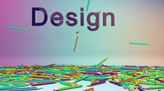 Colorful Crayons and Design text, Alpha Stock Footage