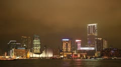 Hong Kong Cityscape Timelapse at Night. Tsim Sha Tsui. Stock Footage