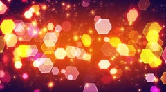 Flashing hexagonal bokeh lights and particles loop Stock Footage