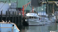 Salmon Fishing Boats Prepare for Offloading Fort Bragg CA Stock Footage