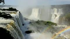 View of rainbow at Iguacu Falls, Brazil Stock Footage