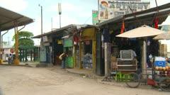 Paso Canoas border town road signs Costa Rica Semi enters bord Stock Footage