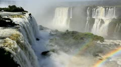 View of rainbow at Iguacu Falls, Brazil Stock Footage