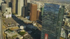 Aerial view of The Ritz Carlton hotel, Los Angeles, USA Stock Footage
