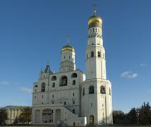 archangel cathedral and ivan the great bell in the moscow kremlin. moscow. ru - stock photo