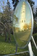 archangel cathedral and ivan the great bell in mirror in the moscow kremlin.  - stock photo