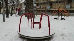 Snowy Suburb 10 playground Stock Footage