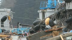 Japan Tsunami Aftermath-Boat Yard Stock Footage