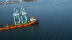 Aerial view of commercial container vessel, USA Stock Footage