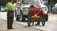 Paso Canoas border town coconut cart, Costa Rica Stock Footage