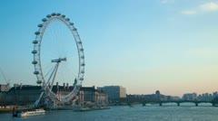 London Eye timelapse at dusk Stock Footage