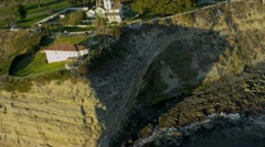 Aerial view of cliff coastline homes, USA Stock Footage